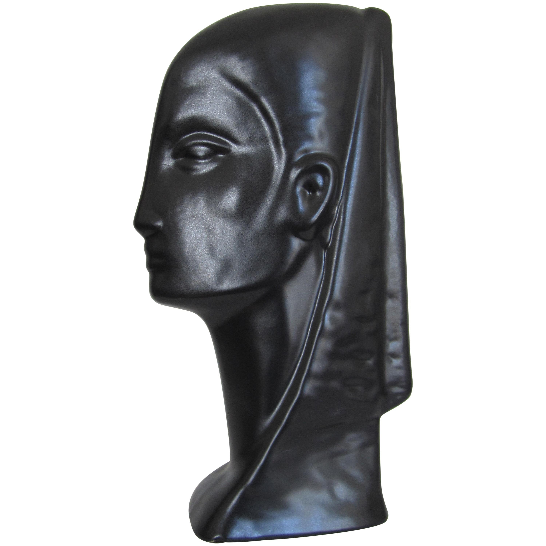 Black Ceramic Pottery Female Face Bust Sculpture
