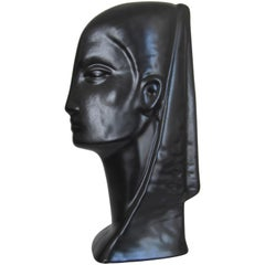 Black Ceramic Pottery Female Face Bust Sculpture