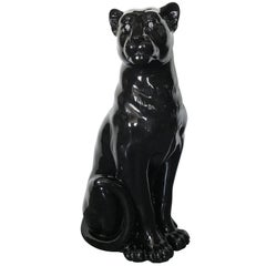 Black Ceramic Puma Sculpture by Fabio Ltd FINAL CLEARANCE SALE