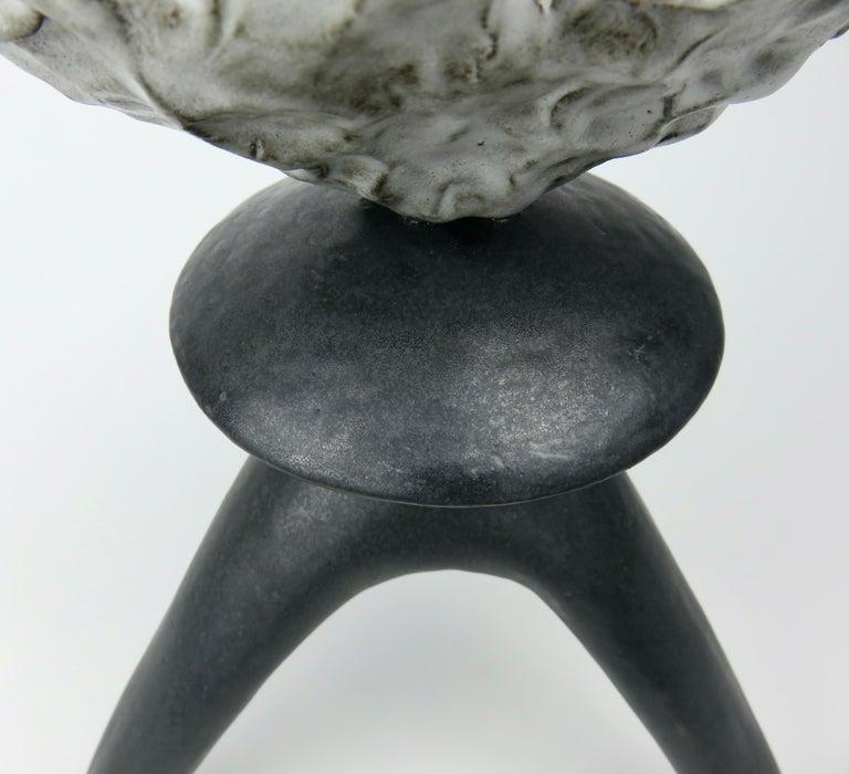 Black Ceramic TOTEM, Center Sphere, White Crinkled Top, Tripod Legs, Hand Built For Sale 3