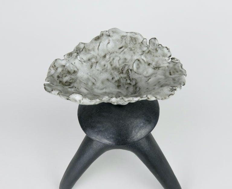 Black Ceramic TOTEM, Center Sphere, White Crinkled Top, Tripod Legs, Hand Built For Sale 4