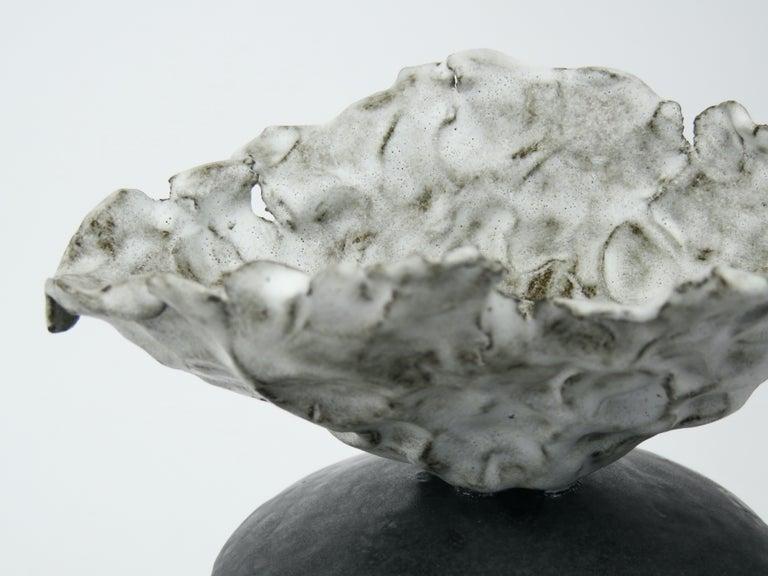 Black Ceramic TOTEM, Center Sphere, White Crinkled Top, Tripod Legs, Hand Built For Sale 6