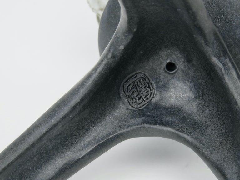 Black Ceramic TOTEM, Center Sphere, White Crinkled Top, Tripod Legs, Hand Built For Sale 8
