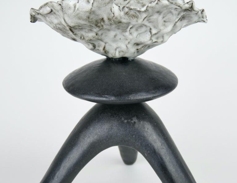 Black Ceramic TOTEM, Center Sphere, White Crinkled Top, Tripod Legs, Hand Built For Sale 1