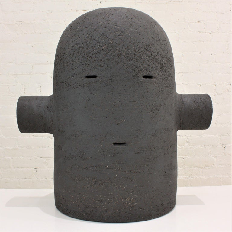 French Black Ceramic Totem Sculpture, Moodiie For Sale