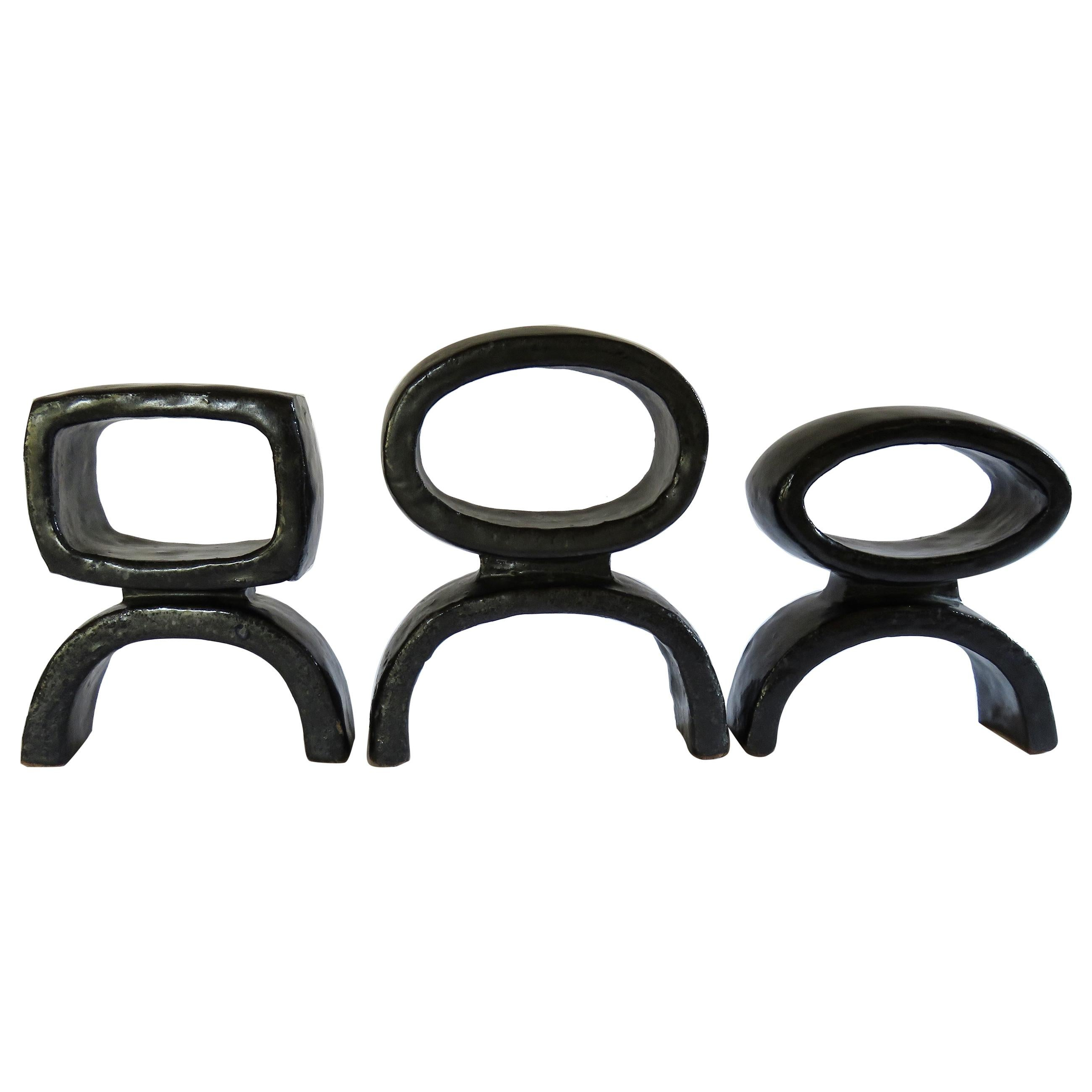 Black Ceramic TOTEM Trio, 3 Hand Built Sculptures, Rings on Arc'd Legs