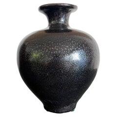 Black Ceramic Vase with Oil-Spot Glaze Jian Ware