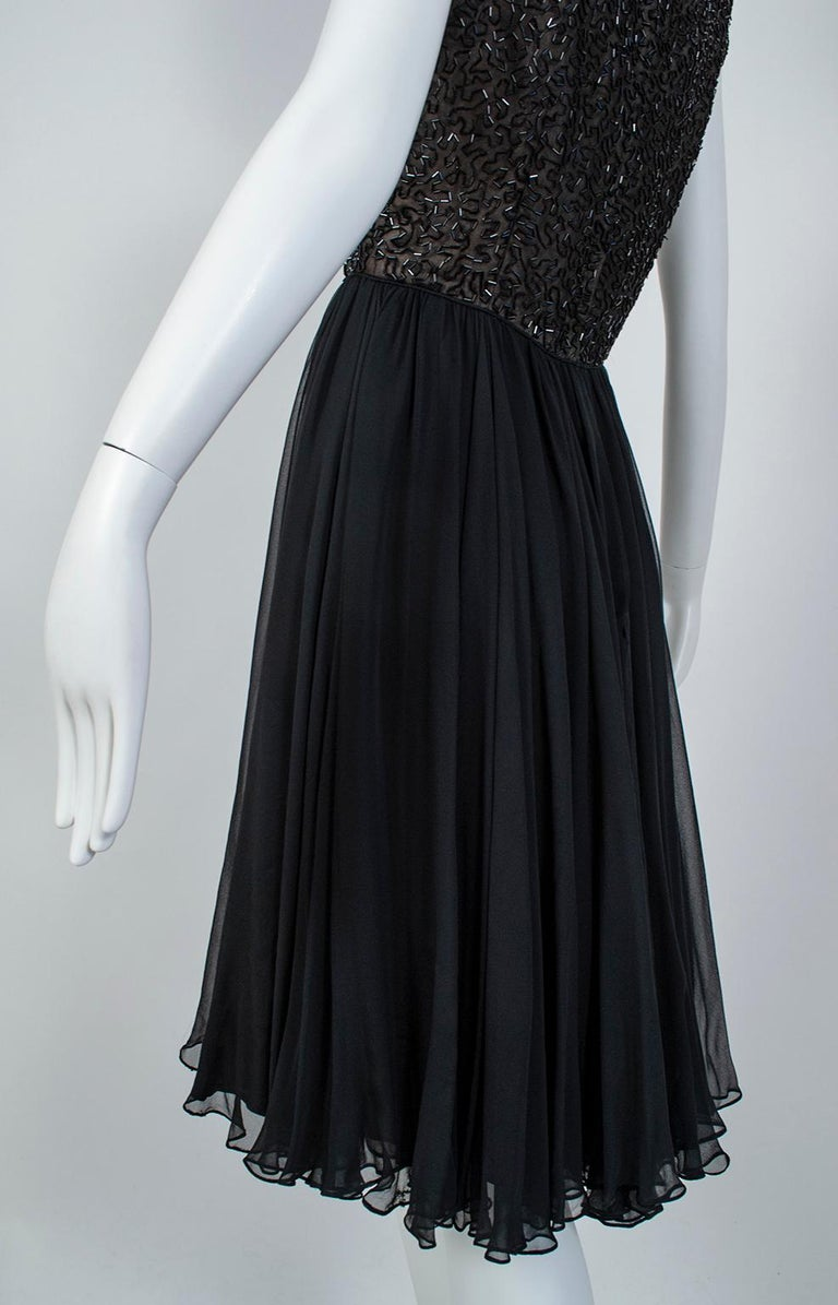 Black Chandelier Bead Illusion Party Dress with Swirling Trumpet Skirt– M, 1950s For Sale 6