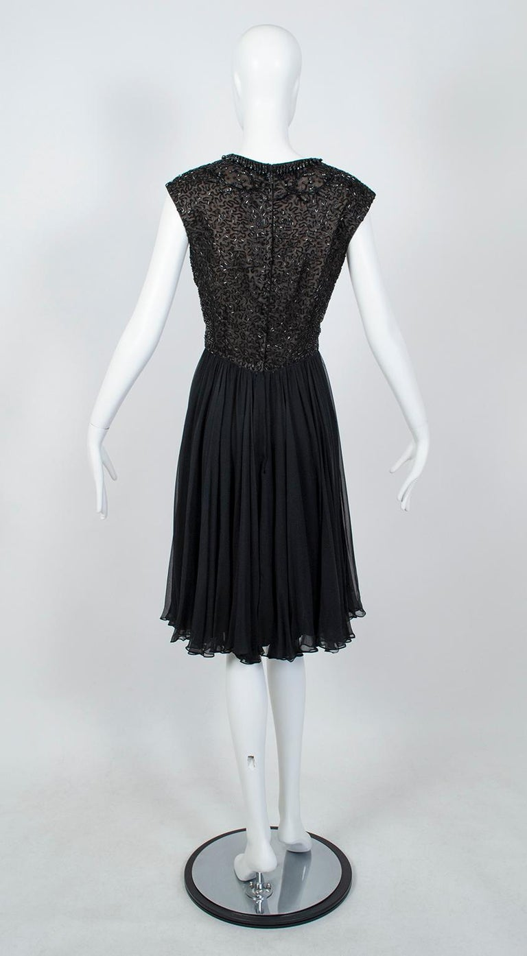 Black Chandelier Bead Illusion Party Dress with Swirling Trumpet Skirt– M, 1950s In Good Condition For Sale In Tucson, AZ