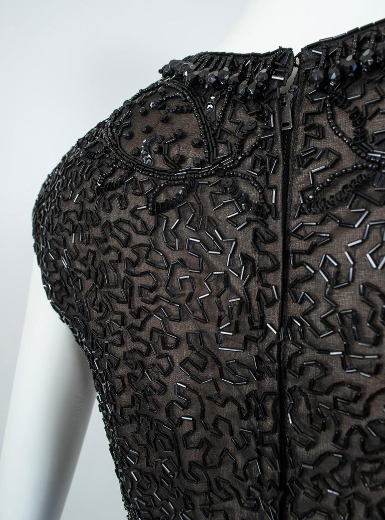 Black Chandelier Bead Illusion Party Dress with Swirling Trumpet Skirt– M, 1950s For Sale 2