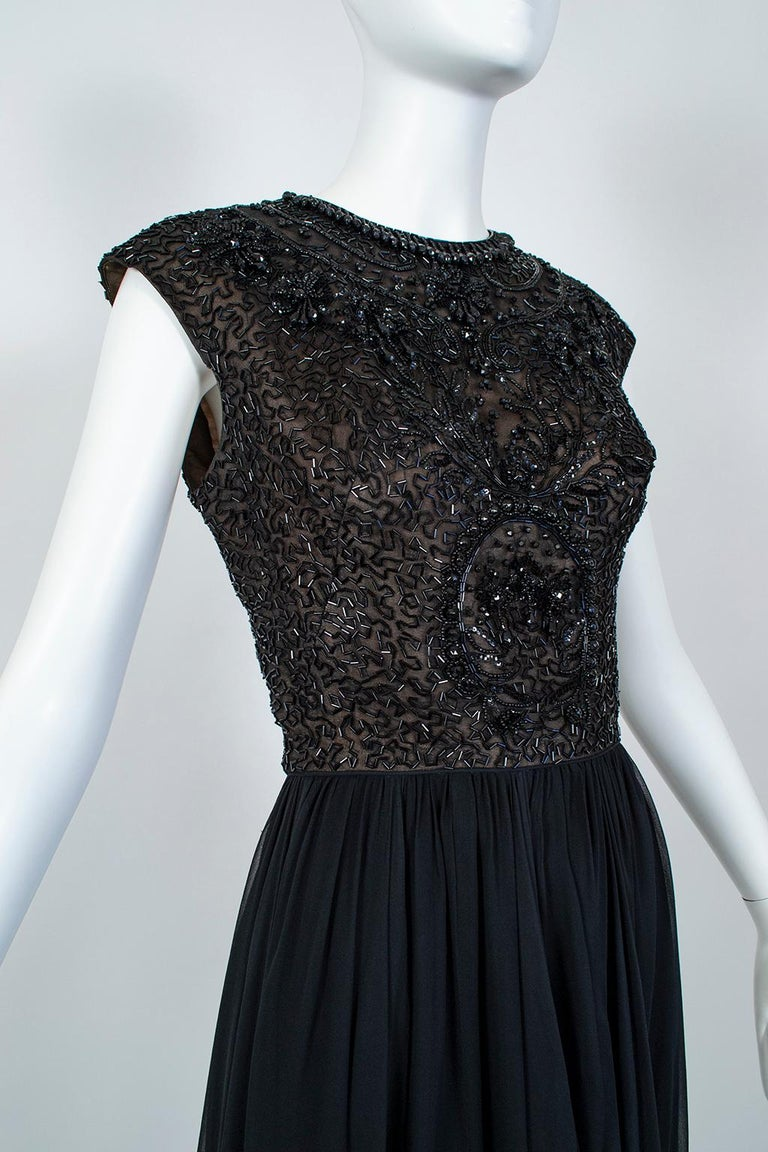 Black Chandelier Bead Illusion Party Dress with Swirling Trumpet Skirt– M, 1950s For Sale 3