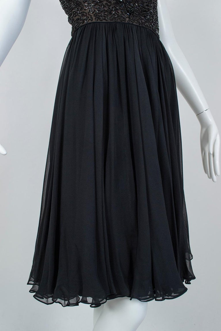 Black Chandelier Bead Illusion Party Dress with Swirling Trumpet Skirt– M, 1950s For Sale 5