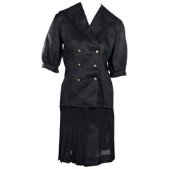 Black Chanel Boutique Wool Pleated Skirt Suit Set