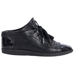 Black Chanel Cap-Toe Leather Sneakers
