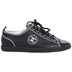 Black Chanel Leather Sneakers