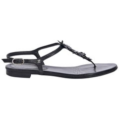 Chanel Black Leather Thong Sandals