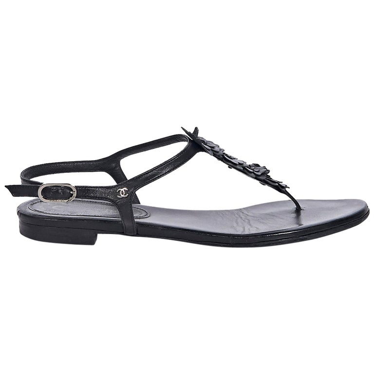 Chanel Black Leather Thong Sandals For Sale