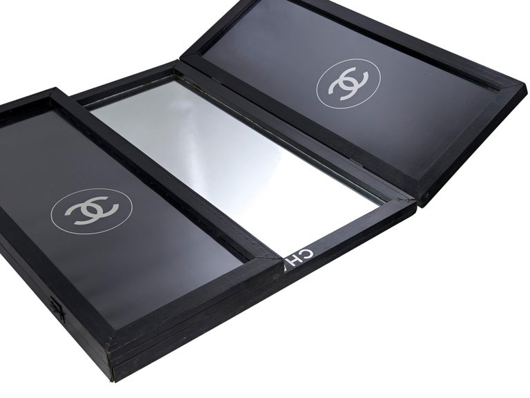 Black Chanel Logo-Accented Bifold Mirror For Sale 1