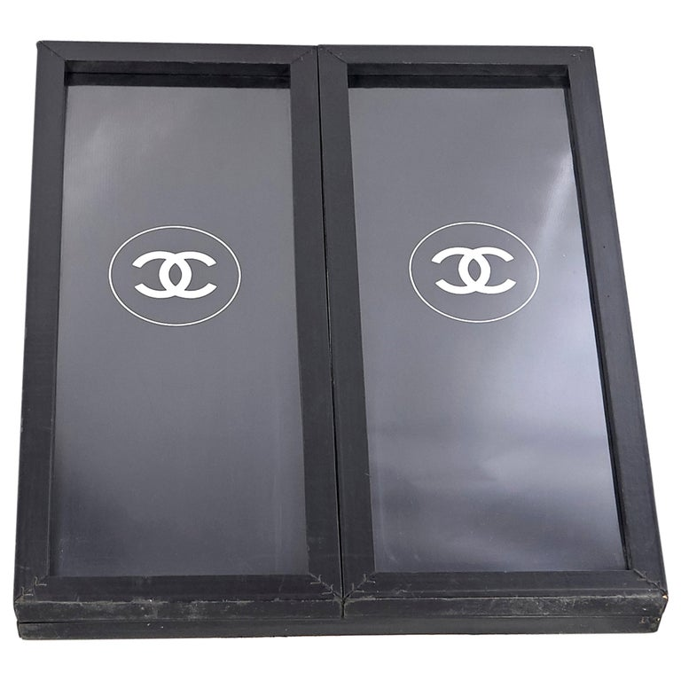 Black Chanel Logo-Accented Bifold Mirror For Sale
