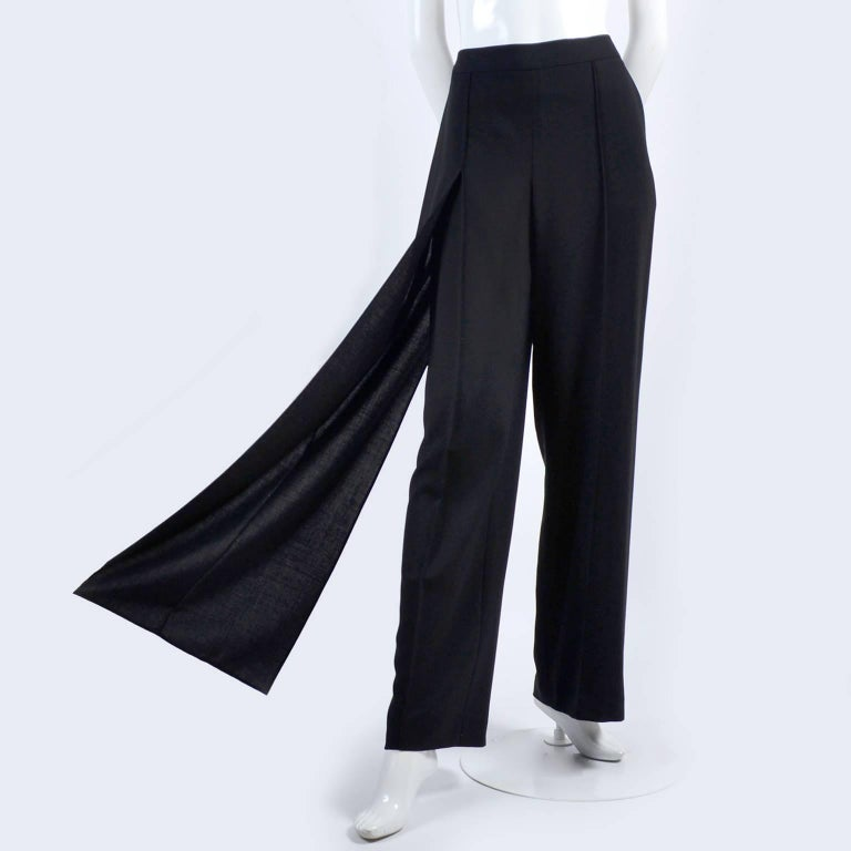 New 1990s Black Wool Chanel Pants W High Waist & Side Fly Away Panel 40 US 10 For Sale 7