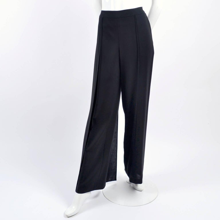 New 1990s Black Wool Chanel Pants W High Waist & Side Fly Away Panel 40 US 10 In New Condition For Sale In Portland, OR