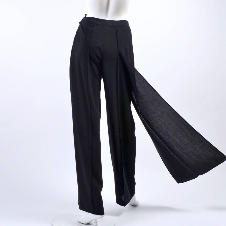 Women's New 1990s Black Wool Chanel Pants W High Waist & Side Fly Away Panel 40 US 10 For Sale