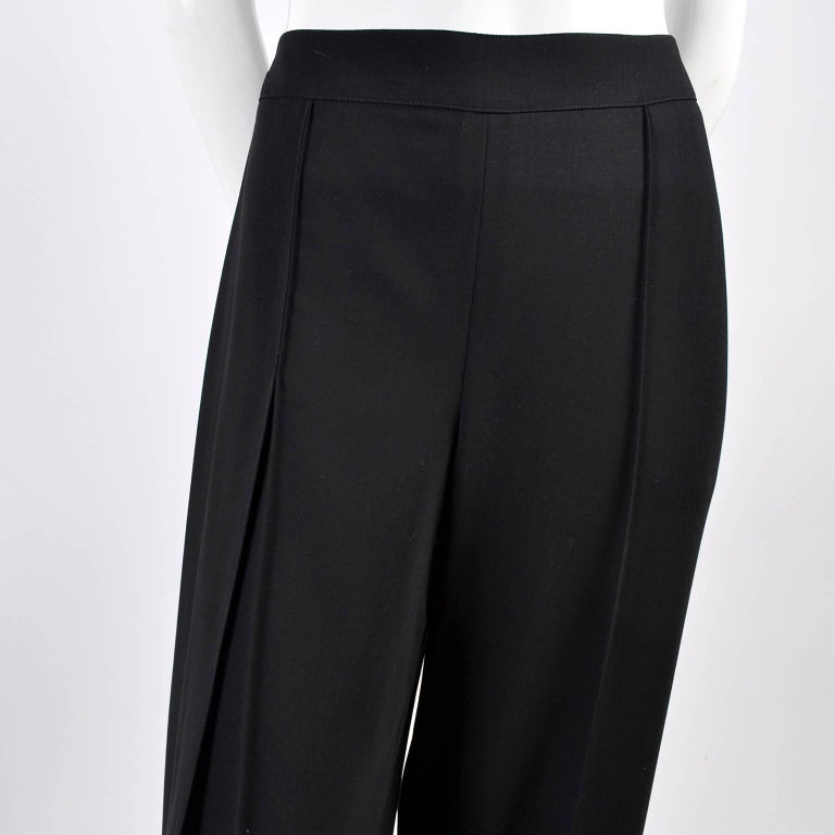 New 1990s Black Wool Chanel Pants W High Waist & Side Fly Away Panel 40 US 10 For Sale 2