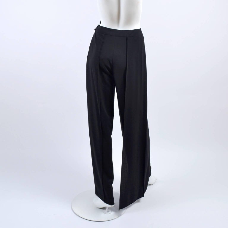 New 1990s Black Wool Chanel Pants W High Waist & Side Fly Away Panel 40 US 10 For Sale 3