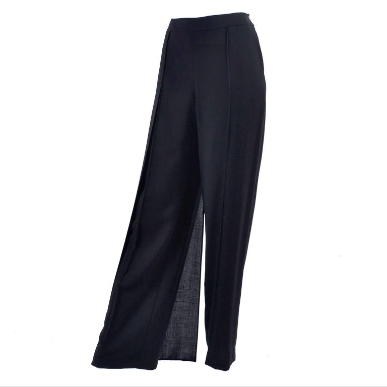 New 1990s Black Wool Chanel Pants W High Waist & Side Fly Away Panel 40 US 10 For Sale