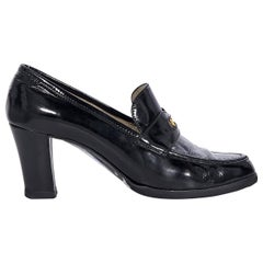 Chanel Black Patent Leather Heeled Penny Loafers