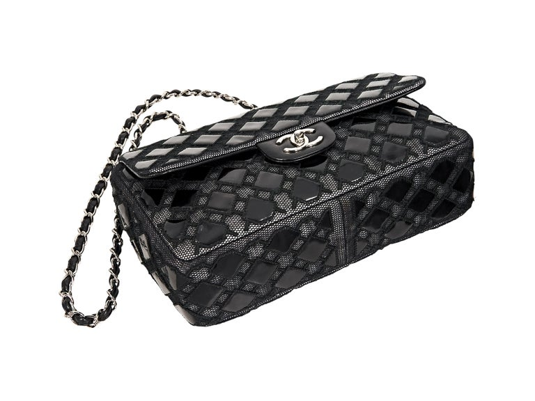 Black Chanel Patent Leather & Mesh Flap Bag In Good Condition For Sale In New York, NY