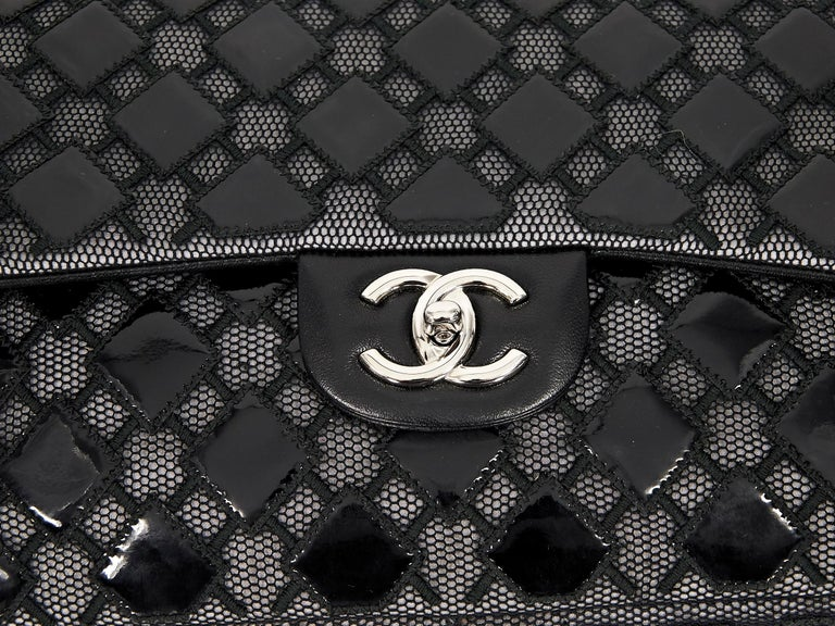 Women's Black Chanel Patent Leather & Mesh Flap Bag For Sale