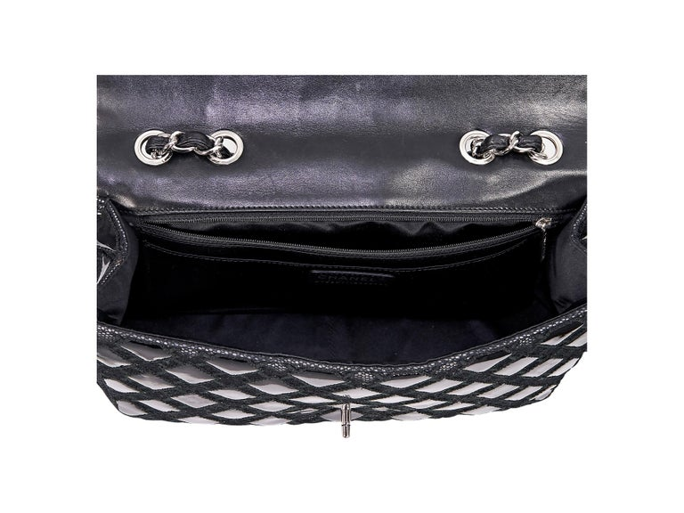 Black Chanel Patent Leather & Mesh Flap Bag For Sale 1