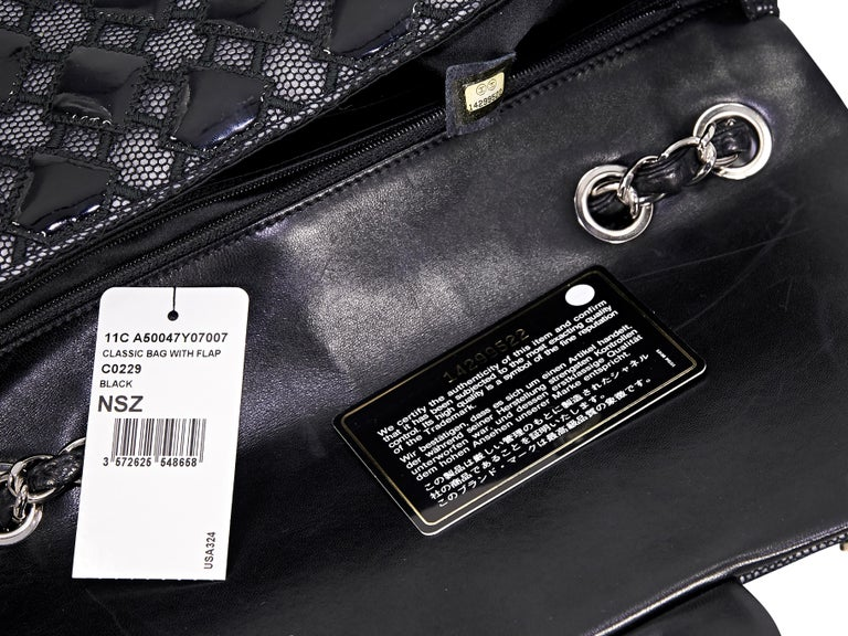 Black Chanel Patent Leather & Mesh Flap Bag For Sale 2