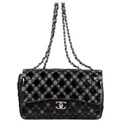Black Chanel Patent Leather & Mesh Flap Bag