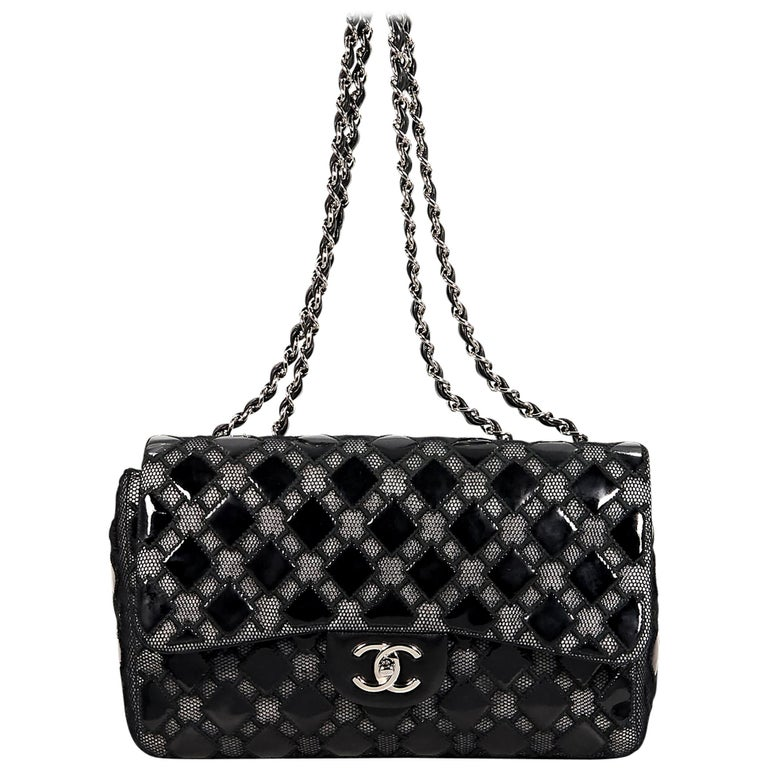 1426e5b68d55 Black Chanel Patent Leather and Mesh Flap Bag For Sale at 1stdibs