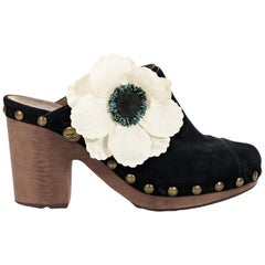 Black Chanel Suede Floral Clogs