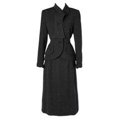 Black chiné Elsa Schiaparelli 1940's skirt -suit
