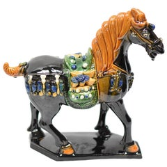 Black Chinese Pottery Horse, with Money Bag