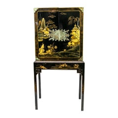 Black Chinoiserie Cabinet on Stand