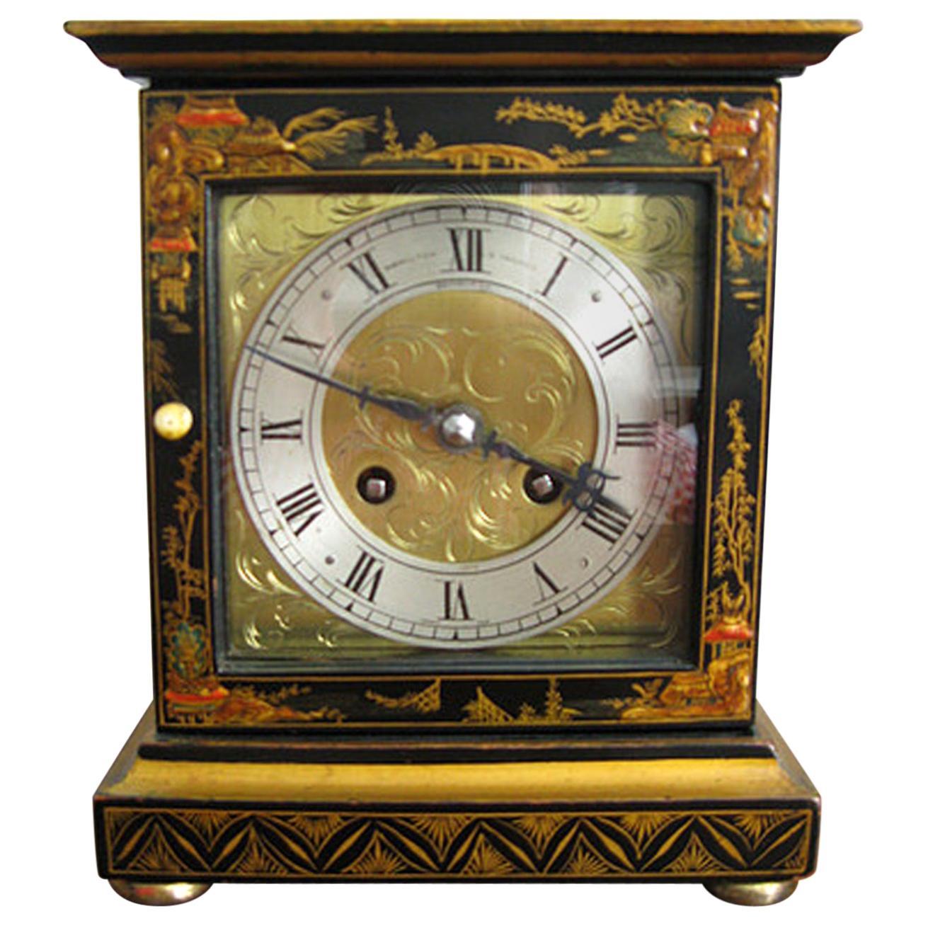 Black Chinoiserie Chiming Mantel Clock Hamilton & Inches Edinburgh