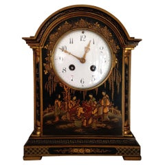 Black Chinoiserie Mantel Clock French Japy Freres Movement, Circa 1900