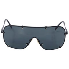 Black Chloe Metal Aviator Shield Sunglasses