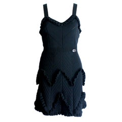 Black Christian Dior 3D Crochet Knit Ribbed Dress with Ruches and Dior Logo Plat