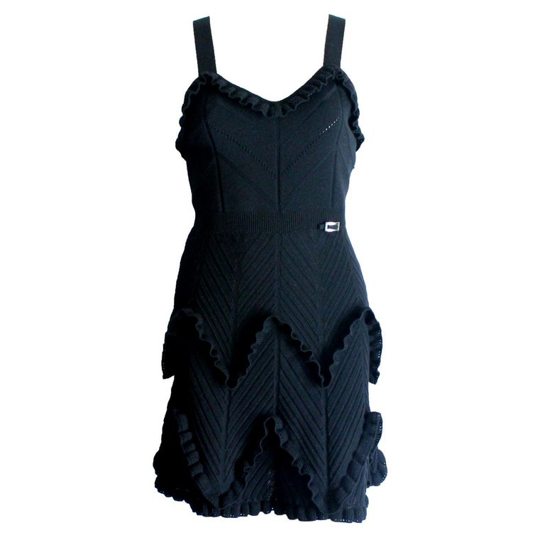 Black Christian Dior 3D Crochet Knit Ribbed Dress with Ruches Dior Logo Plate For Sale