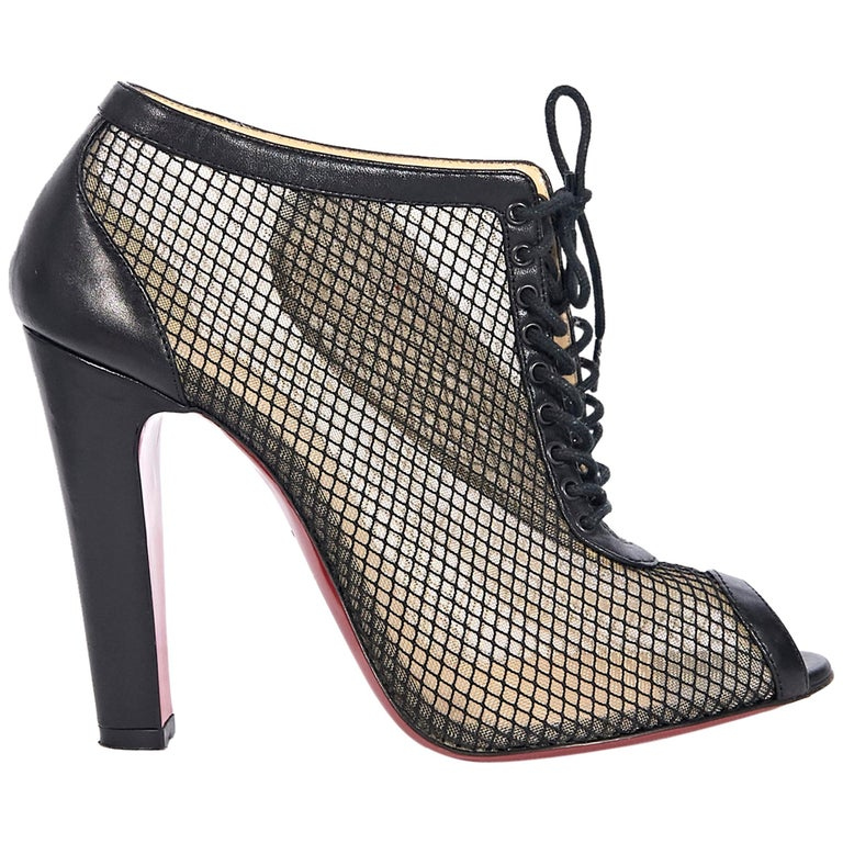 watch a63f6 23775 Christian Louboutin Black Mesh Ankle Boots