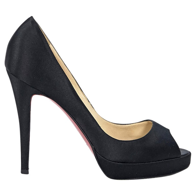 finest selection edf7d 6c021 Black Christian Louboutin Satin Peep-Toe Pumps
