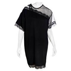 Christopher Kane Black Lace-Trimmed Shift Dress