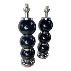 Black Chrome Ball Lamps by Kovacs, a Pair
