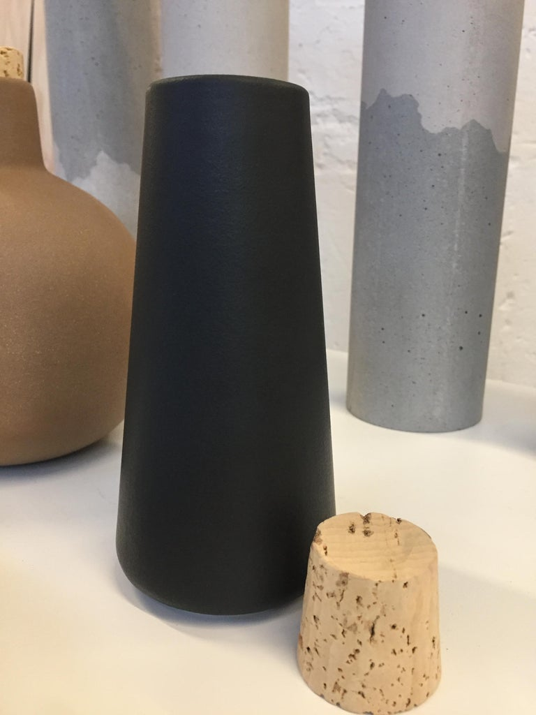 Mexican Black Clay Carafe with Cork, in Stock For Sale